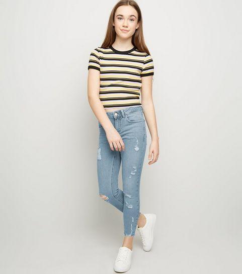 339794e6e5a ... Girls Pale Blue Ripped High Waist Skinny Jeans ...
