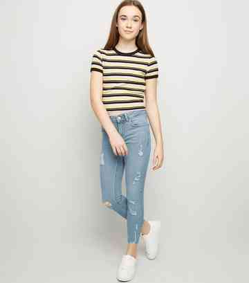 Girls Pale Blue Ripped High Waist Skinny Jeans