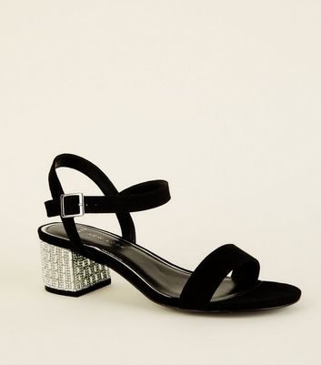 Wide Fit Black Suedette Diamanté Block Heel