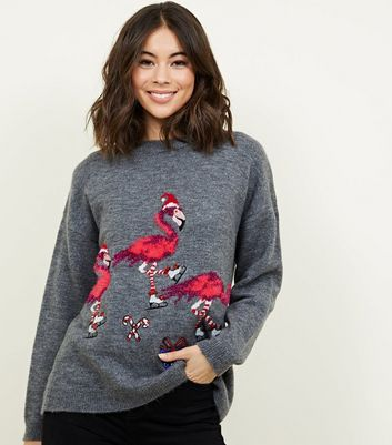 Light Grey Flamingo Christmas Jumper