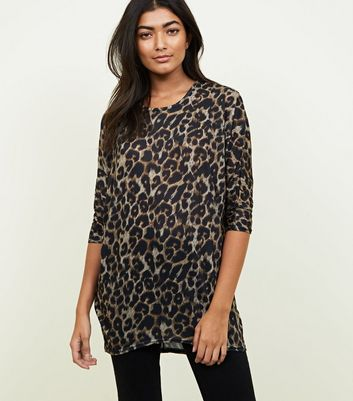 Brown Leopard Print Batwing Fine Knit Top