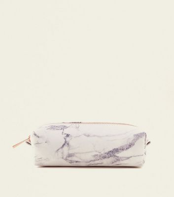 Off White Marble Effect Pencil Case