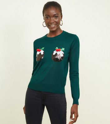 Green Sequin Christmas Pudding Jumper
