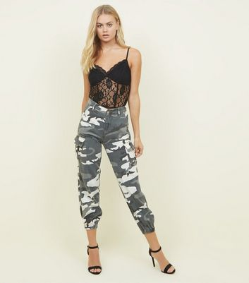Light Grey Camo Print Cuffed Cargo Jeans