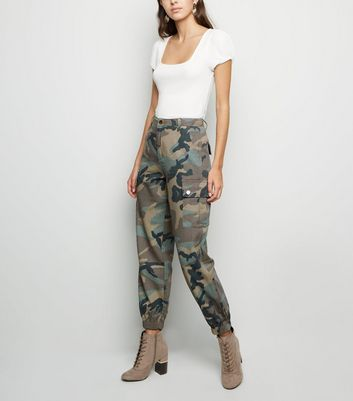 Green Camo Print Utility Jeans