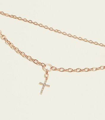 Re Born Rose Gold Cross Pendant Layered Necklace by New Look