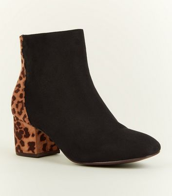 Girls Black Leopard Print Panel Western Boots