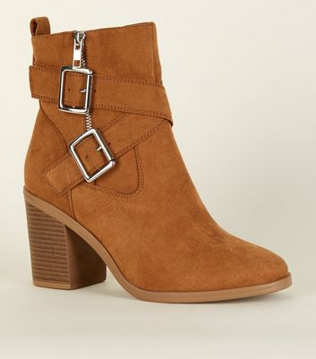 Wide Fit Tan Suedette Buckle Cross Strap Boots