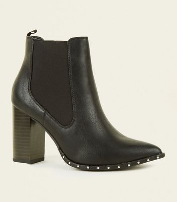 Wide Fit Black Leather-Look Studded Chelsea Boots