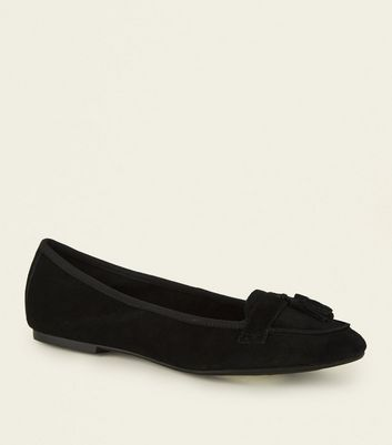 Wide Fit Black Suede Tassel Trim Loafers