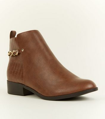 Tan Faux Croc Panel Chain Ankle Boots