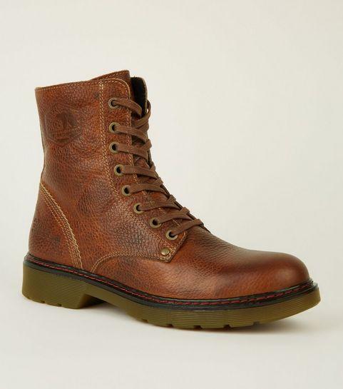 6bae60a27c852 ... Chaussures de randonnée rouge brique en cuir à lacets ...