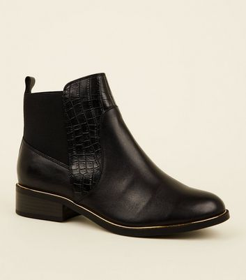 Black Leather Metal Trim Chelsea Boots