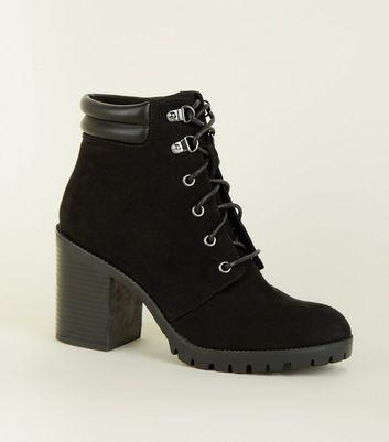 Black Suedette Lace Up Heel Ankle Boots