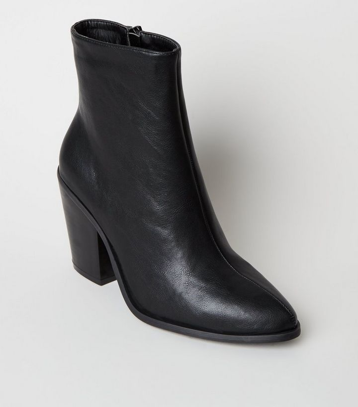 d1b7248d Black Leather-Look Pointed Ankle Boots Add to Saved Items Remove from Saved  Items