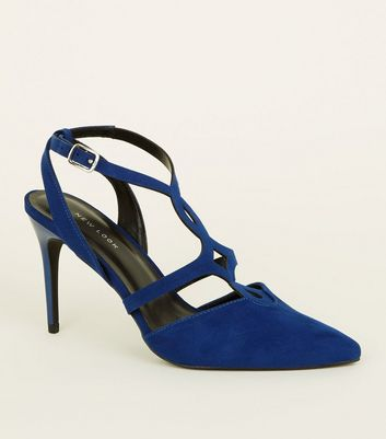 Bright Blue Soft Suedette Cut-Out Front Stilettos
