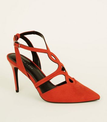 Orange Soft Suedette Cut-Out Front Stilettos