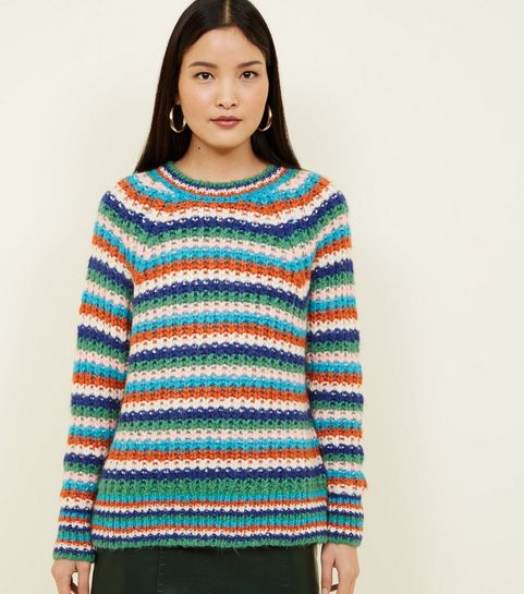 5fbcdf9a5 ... Multicoloured Stripe Chunky Knit Raglan Sleeve Jumper ...