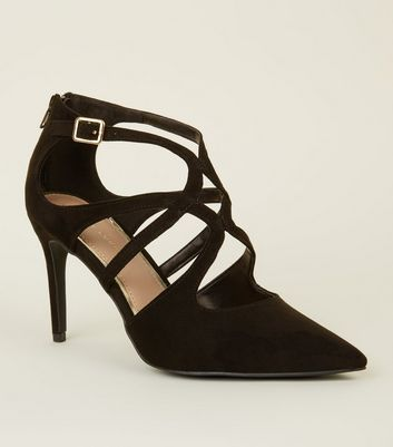 Black Suedette Pointed Toe Caged Stilettos