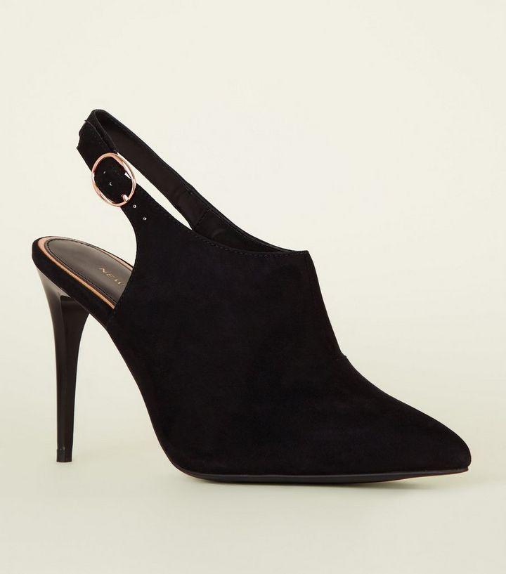 93d06b4f92 Black Stiletto Slingback Stiletto Shoe Boots | New Look