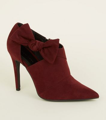 Dark Red Suedette Bow Side Shoe Boots