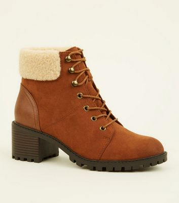 Tan Block Heel Teddy Cuff Lace Up Boots