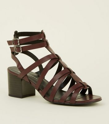 Wide Fit Dark Red Gladiator Block Heels