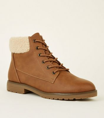 Tan Teddy Cuff Flat Lace Up Boots