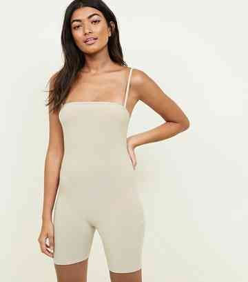 Beiger Stretch-Jumpsuit mit schmaler Passform