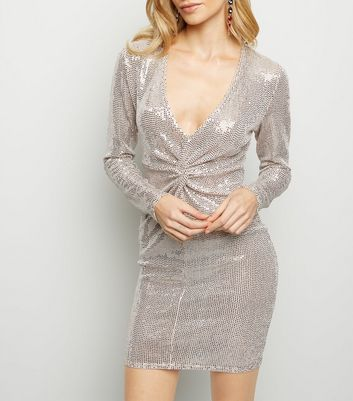 Pale Pink Mirrored Sequin Twist Front Dress