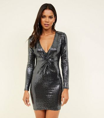 Silver Mirrored Sequin Twist Front Dress