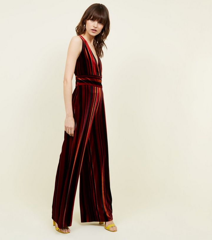 a4dd992c947 Red Stripe Velvet Wide Leg Jumpsuit