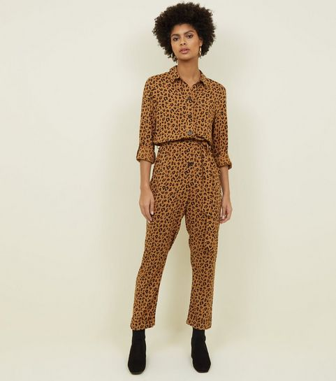 b1146547618 ... Brown Leopard Print Button Front Jumpsuit ...