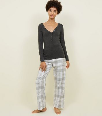 Grey Check Glitter Star Print Pyjama Bottoms