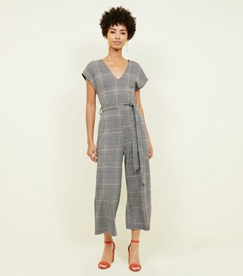 Grey Check Jersey V-Neck Jumpsuit