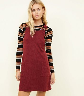 Burgundy Cross Hatch Round Buckle Pinafore Dress
