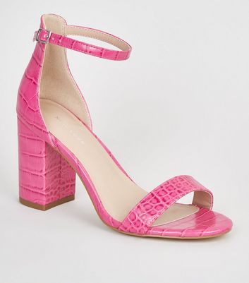 Bright Pink Faux Croc Block Heel Sandals