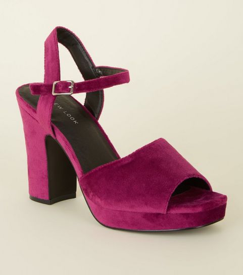 b7a6ff541a9 ... Bright Pink Velvet Square Toe Platform Heels ...