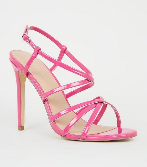 e11a23dd4d5 ... Bright Pink Neon Strappy Stiletto Sandals ...