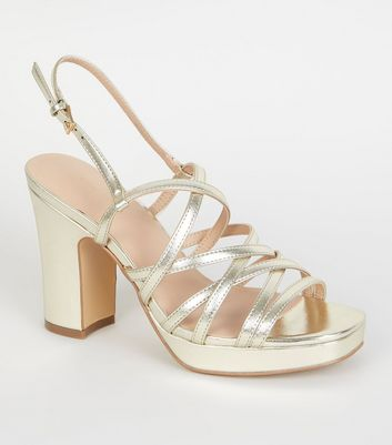 Plateausandalen mit Riemchen in Metallic-Gold