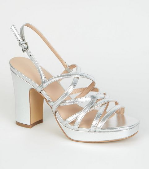 7c8d535cc4f Silver Metallic Strappy Platform Sandals · Silver Metallic Strappy Platform  Sandals ...