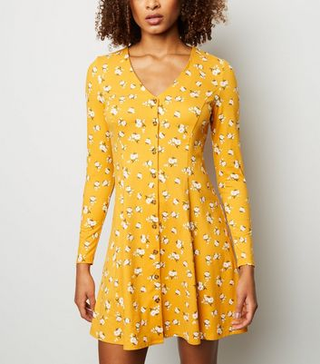 Yellow Floral Print Soft Touch Button Through Dress