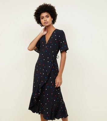 Black Multicoloured Spot Print Frill Hem Wrap Dress