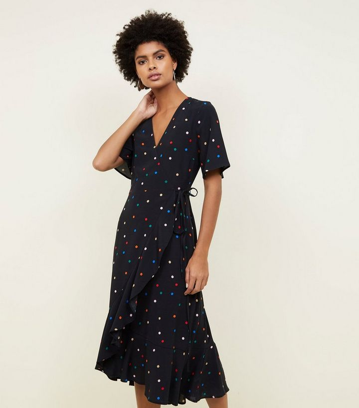 a52073304266 Black Multicoloured Spot Print Frill Hem Wrap Dress