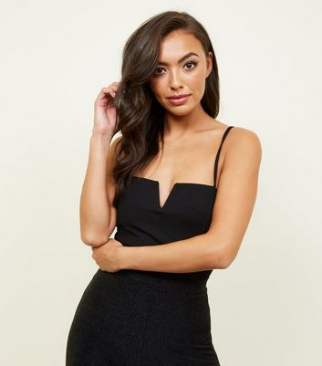 Black Notch Neckline Bodysuit