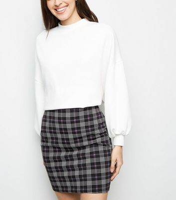 Black Check Print Mini Tube Skirt