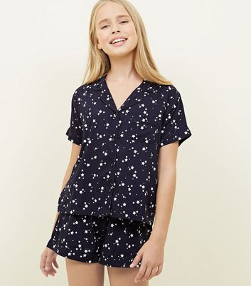 Girls Navy Star Print Pyjama Set