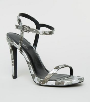 Silver Camo Stiletto Heel Sandals