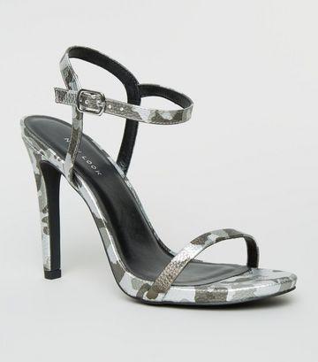Silver Camo Stiletto Heel Sandals