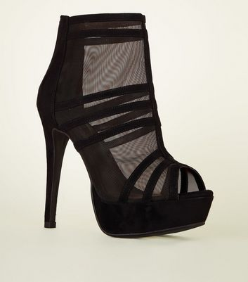 Black Strappy Mesh Platform Stiletto Shoe Boots